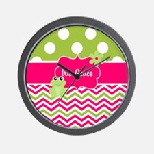 Pink Green Chevron Frog Personalized Wall Clock