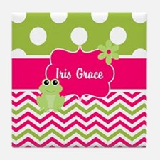Pink Green Chevron Frog Personalized Tile Coaster