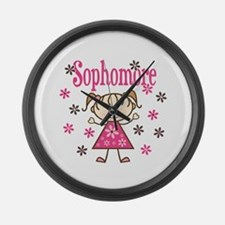 Sophomore Girl Large Wall Clock
