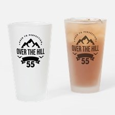 Over The Hill 55th Birthday Drinking Glass