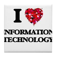 I Love Information Technology Tile Coaster