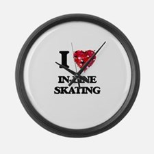 I Love In-Line Skating Large Wall Clock