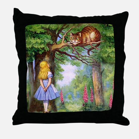 Alice and the Cheshire Cat Throw Pillow