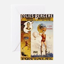 Folies Bergere Fontaine Vintage Post Greeting Card