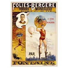Folies Bergere Fontaine Vintage Poster Poster