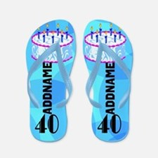 40th Blue Cake Flip Flops
