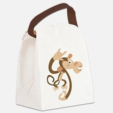 ASL I Love You Monkey Canvas Lunch Bag