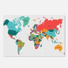 World Map With the Name of The Countries Postcards