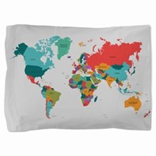 World Map With the Name of The Countries Pillow Sh