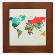 World Map With the Name of The Countries Framed Ti