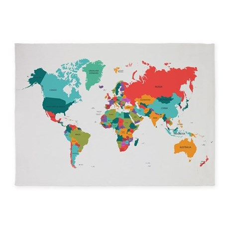 World Map With The Name Of The Countries 5 39 X7 39 Area By