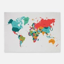 World Map With the Name of The Countries 5'x7'Area