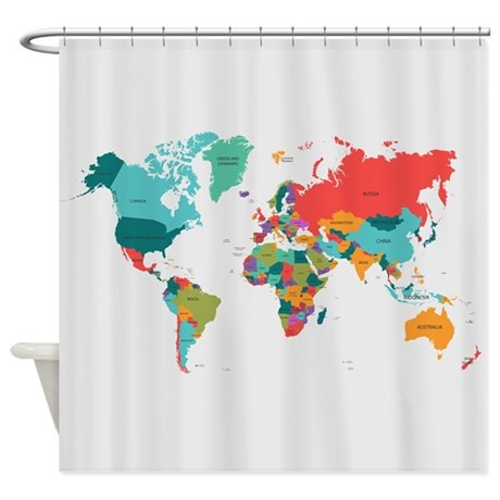 Amazing World Map With The Name Of The Countries Shower Cu