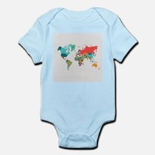World Map With the Name of The Countries Body Suit