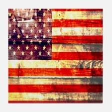 grunge USA flag Tile Coaster
