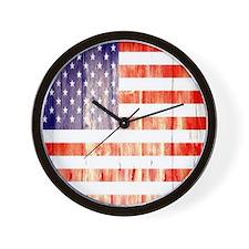 grunge USA flag Wall Clock