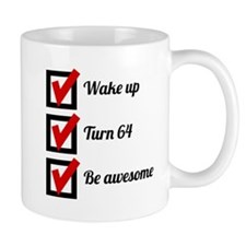 Awesome 64th Birthday Checklist Mugs