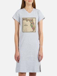 Vintage Map of Florida (1870) Women's Nightshirt