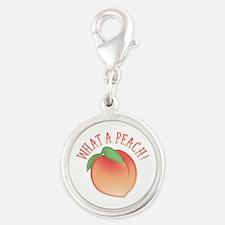 What A Peach Silver Round Charm