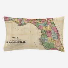 Vintage Map of Florida (1870) Pillow Case