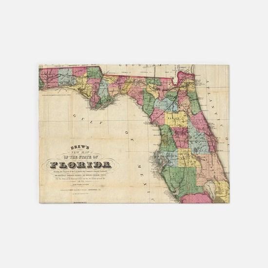 Vintage Map of Florida (1870) 5'x7'Area Rug