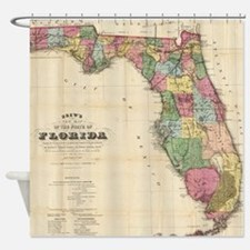 Vintage Map of Florida (1870) Shower Curtain