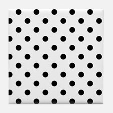 Girls just wanna have dots - white/bl Tile Coaster