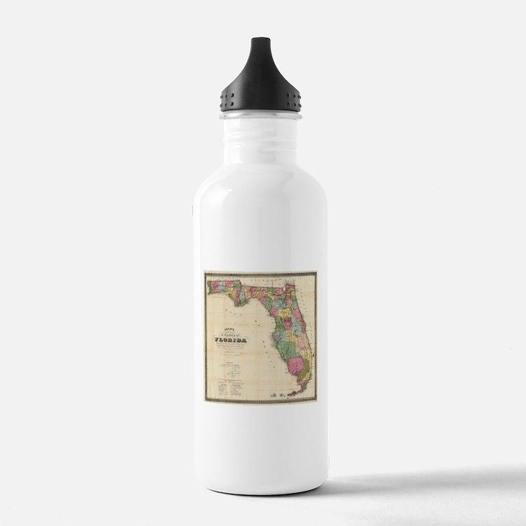 Vintage Map of Florida Water Bottle
