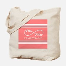 Coral Infinity Mr and Mrs Personalized Tote Bag