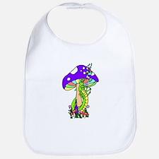 Hookah Smoking Caterpillar and Purple Mushroon Bib