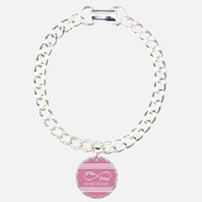 Pink Infinity Mr and Mrs Charm Bracelet, One Charm