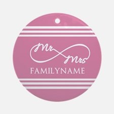 Pink Infinity Mr and Mrs Personal Ornament (Round)