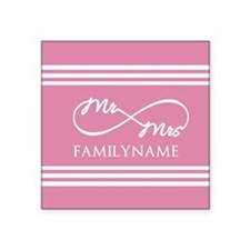 """Pink Infinity Mr and Mrs Pe Square Sticker 3"""" x 3"""""""