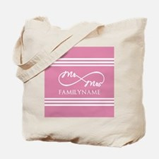 Pink Infinity Mr and Mrs Personalized Tote Bag