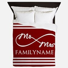 Red Infinity Mr and Mrs Personalized Queen Duvet