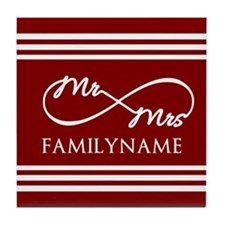 Red Infinity Mr and Mrs Personalized Tile Coaster