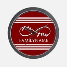 Red Infinity Mr and Mrs Personalized Wall Clock