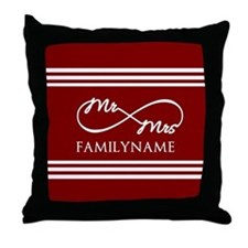 Red Infinity Mr and Mrs Personalized Throw Pillow