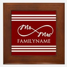 Red Infinity Mr and Mrs Personalized Framed Tile