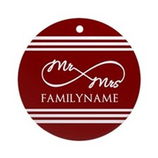 Red Infinity Mr and Mrs Personali Ornament (Round)