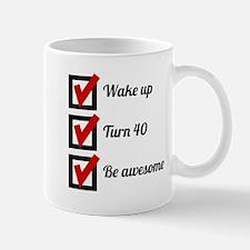 Awesome 40th Birthday Checklist Mugs