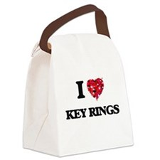 I Love Key Rings Canvas Lunch Bag