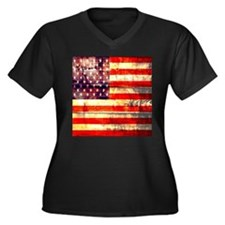 grunge vintage USA flag Plus Size T-Shirt
