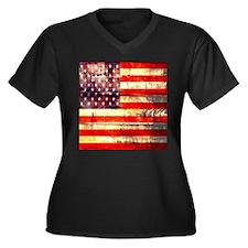 grunge vintage USA flag Plus Size T-Shirt