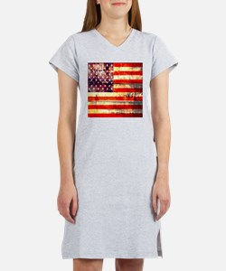 grunge vintage USA flag Women's Nightshirt