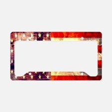 grunge vintage USA flag License Plate Holder