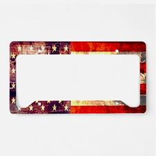 grunge vintage USA flag License Plate Holder