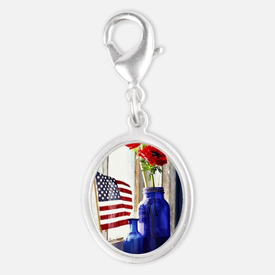Patriotic Flowers Silver Oval Charm