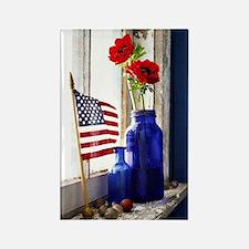 Patriotic Flowers Rectangle Magnet