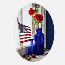 Patriotic Flowers Oval Ornament